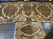 ROMANY GYPSY WASHABLE MATS FULL SET OF 4 MATS-RUGS X LARGE 100X140CM DARK BEIGE